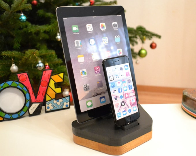 Apple Watch stand docking station gift ipad charging station Station stand IDOQQ due pad Wood Station, iphone 5 to x ipad all models