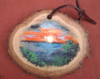 Lake Sunset Hand Painted Ornament