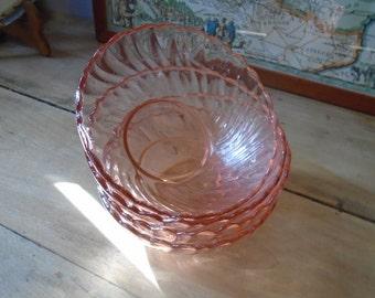 Bowls Arcoroc pink - 60's - set of 4 bowls - ramekins