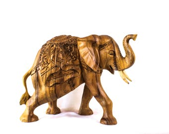 Balinese Wood Carving - Lucky Elephant Parade Statuette