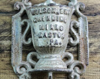Wilson Bro Grinding Mills Easton PA Match Holder - Pewter - Country Rustic, Farmhouse, Man Cave - Matches Included