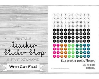 Erin Condren Teacher Planner Week Number Stickers PRINTABLE - with Cut File - Weeks 1-40 - also for lesson planner, teacher binder, etc.