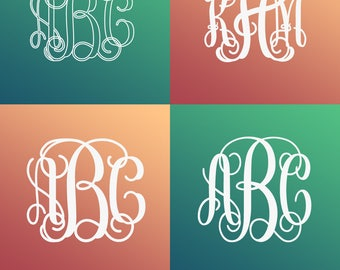 SVG Bundle svg, Interlocking Vine Monogram Font SVG, Vine Monogram Font Cut files, Interlocking monogram, Svg files for Silhouette, Studio3.