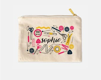 Sewing Cosmetic Bag Personalized, Gifts for Sewers, Gifts for Seamstress, Sewing Gifts, Sewer Makeup Bag, Cute Makeup Bags, 9.5 x 7