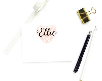 Personalized Stationery Girl, Personalized FLAT Note Cards, Gemstones Note Cards, Diamonds Stationery Set, SET of 10 Cards with Envelopes