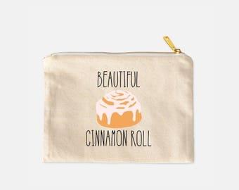Beautiful Cinnamon Roll Cosmetic Bag, Cinnamon Roll Makeup Bag, Funny Make Up Bag, Cotton Canvas Cosmetic Bag, Funny Makeup Bag, 9.5 x 7