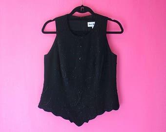 Vintage Black Beaded Unique Sleeveless Top