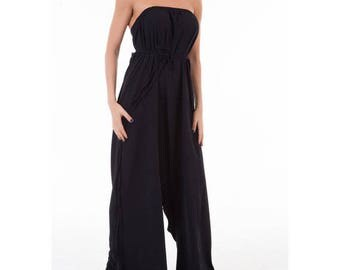 Low Crotch Black Jumpsuit/ Loose jumpsuit/ Oversize/ Plus size Extravagant Jumpsuit