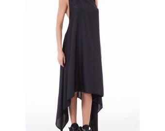 Black Chiffon Long Dress/ Plus Size Kaftan Dress/ Maxi Dress/ Assymetric Long Tunic/ Oversize extravagant tinic/ Loose dress