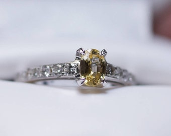14K White Gold Oval Yellow Sapphire and Diamond Engagement Ring or Fashion Ring