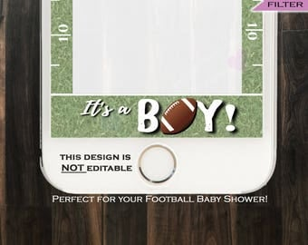 Football Baby Shower Snapchat Geofilter- Baby boy shower Filter- Team Blue It's a Boy Party - Digital INSTANT Download PNG // NOT Editable