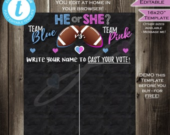 Football Gender Reveal Sign - Cast your Vote Board Team He or She - Gender Reveal Party Baby Shower - He or She INSTANT Self-EDITABLE 16x20