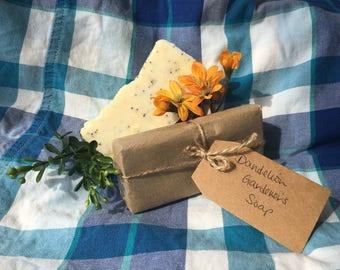 Dandelion Gardener's Soap, Exfoliating, Hot Process Soap