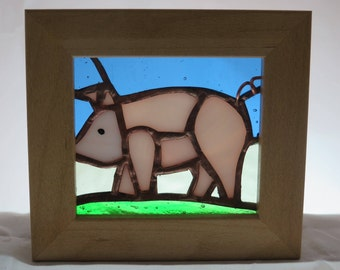 Stained Glass Picture of a Pig