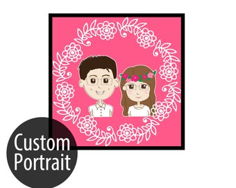 Custom Portrait, Wedding Portrait, Cartoon Portrait Couple, Custom anniversary gift, Custom portrait illustration, Custom Wedding card