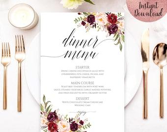 Red Floral Wedding Menu Template, Printable Script Font Wedding Menu Template, Editable Wedding Menu Template, PDF file, Digital Download