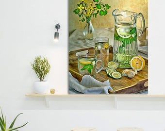 Lemonade Canvas, Fruit Art, Kitchen Wall Art, Lemonade Print, Kitchen Print, Kitchen Canvas, Fruit Canvas, Kitchen Poster, Food painting