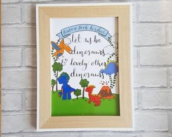Boy's nursery print, Dinosaur nursery decor, Dinosaurs picture, Nursery decor, Nursery wall art, Baby gift, Baby shower gift, Personalised