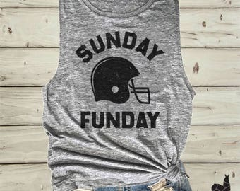 Sunday funday shirt, Football shirt, Football tank, Game day tank, Game day shirt, Slouchy tank, Football mom shirt, Super bowl shirt
