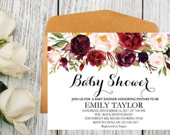 Floral Baby Shower Invitation, It's a Girl Shower Invite, Bridal Shower Card, Floral Baby Shower, Boho Girl Baby Invite, Instant Download B2
