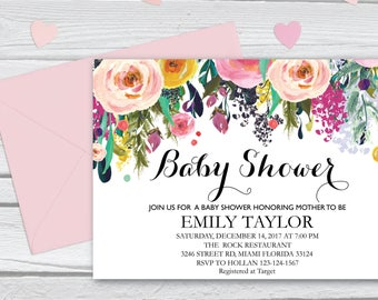 Floral Baby Shower Invitation, It's a Girl Shower Invite, Bridal Shower Card, Floral Baby Shower, Boho Girl Baby Invite, Instant Download B9