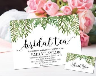 Bridal Tea Invitation, Bridal Tea Party Invitations, Greenery Bridal Tea, Boho Bridal Tea, Bridal Tea Party, INSTANT DOWNLOAD, A-BT5