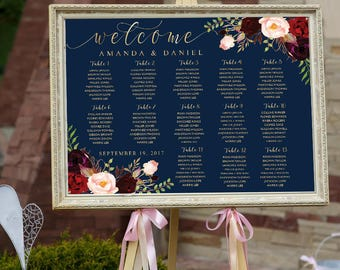 Wedding Seating Chart, Poster wedding, Seating Chart, Wedding Table seating, Navy seating chart, seating chart alphabet, Find Your Seat, 25B