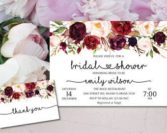 Bridal Shower Invitation, Printable Bridal Shower, Boho Bridal Shower, Instant Digital Download File, Flower Bridal, Bridal Shower Signs MF2
