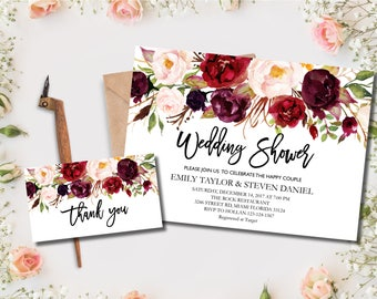 Wedding Shower Invitation, Fall Floral Bridal Shower Card, Couples Shower Invite, Editable Couple shower, Instant Download Wedding Shower #2