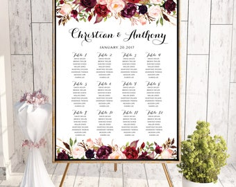 Wedding Seating Chart, Wedding seating template, Navy seating chart, Seating chart, seating chart poster, seating chart alphabet, #125