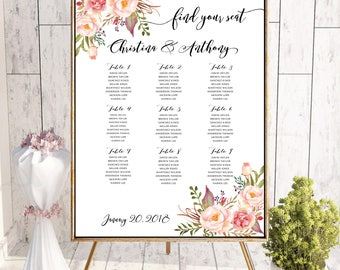 PRINTABLE Wedding Seating Chart, Wedding Seating Chart, Wedding seating template, Navy seating chart, Seating chart, Find Your Seat #138