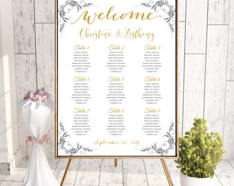 PRINTABLE calligraphy Wedding Seating Chart , Calligraphy Wedding Seating Chart, Wedding Table seating assignment, Seating Chart, #162