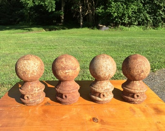 Antique Vintage Architectural Salvage Cast Iron Metal CANNON BALL Fence POST Tops Finial Gate Hitching