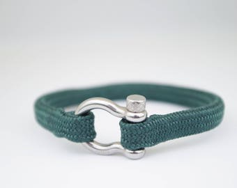 DARK GREEN & silver | Sailing bracelet - Custom and Handmade