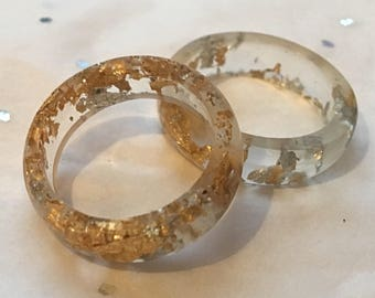 Small Resin Ring Gold & SilverLeaf