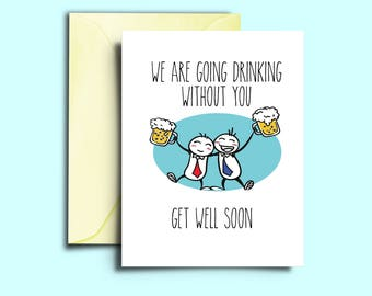 Card for sick person etsy get well friend card printable funny gift get better soon hospital cards feel better greeting cards m4hsunfo