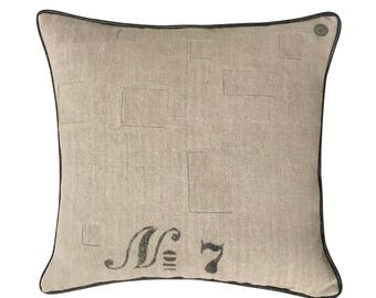 Antique German Grain Sack Pillow from 1912 -  22 x 22""
