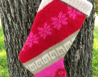 Up-cycled Sweater Stockings, Handmade Christmas Stocking