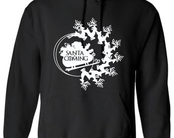 Game of Thrones Inspired Christmas is Coming House Stark Santa Sled Hoodie