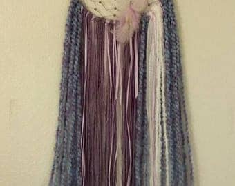 Purple Boho Style Dream Catcher, Silver Hand Wrapped Healing Crystal, Amethyst Crystal, Loving Energy, Reiki, Native American Artist