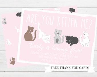 Cute Kitten Party Invitation Precious Pink