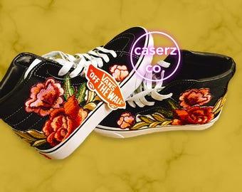 Embroidered Roses Custom Vans Unisex Sneakers, Sk8-Hi, custom floral vans, hand painted shoes, hi top shoes,old skool vans