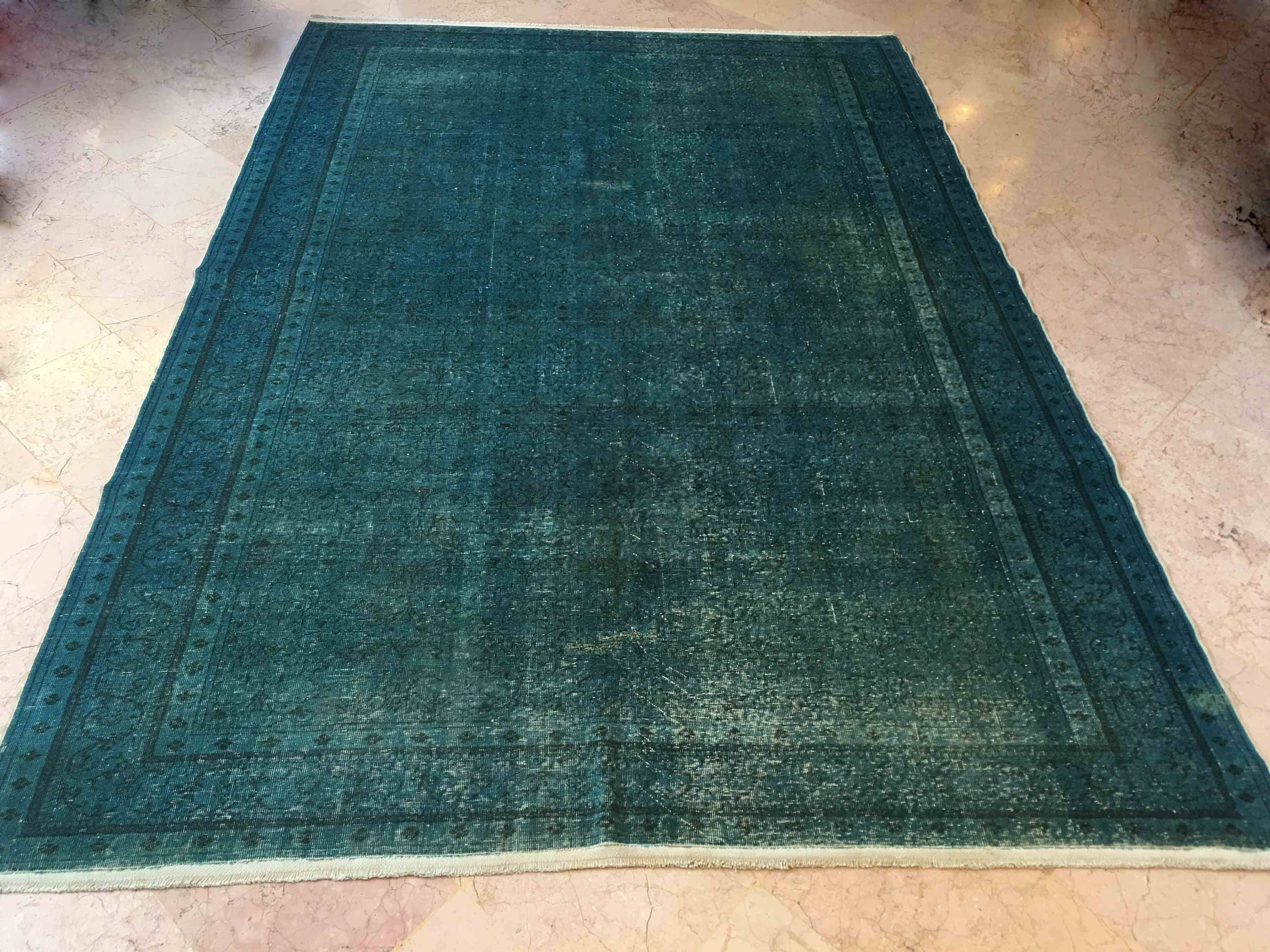 Completely new teal rug, teal rustic home decor, overdyed rug, overdyed turkish  PD34