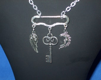 Steampunk wing, key and moon silver necklace, pendant