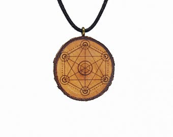"Soul slices ""sacred geometry 2"" wooden necklace, Vintage * Ethno * hippie * MUST have * statement *"