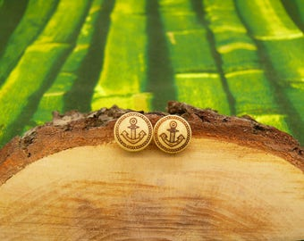 """Soul slices """"anchor"""" wooden earrings 13mm"""