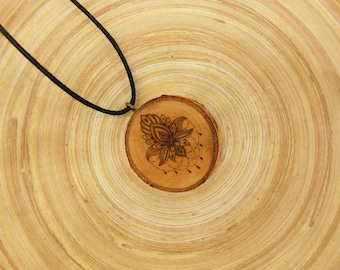 "Soul slices ""lotus flower 1"" wood necklace, vintage * Ethno * hippie * MUST have * statement *"