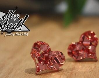 Love Heart Earring Studs - Chunky Rose Gold Glitter
