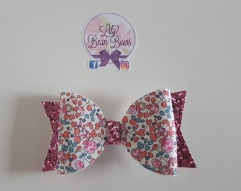 Pink bouquet bow made using Liberty of London fabric