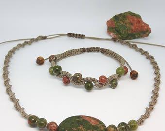 Unakite Necklace and Bracelet Set